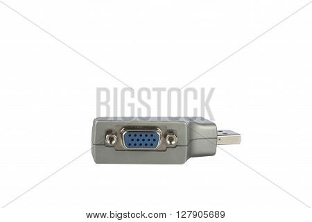 Serial COM Port USB Adapter isolated on white backgound