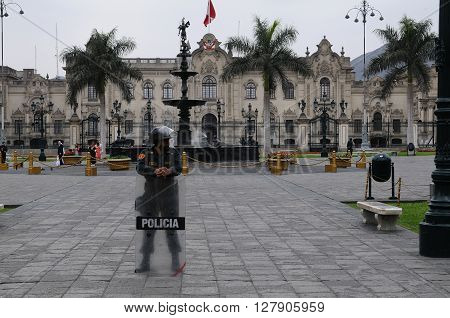 20 November 2010  - Plaza de Armas, Lima, Peru. Police standing in front of the Government Palace on Plaza de Armas.