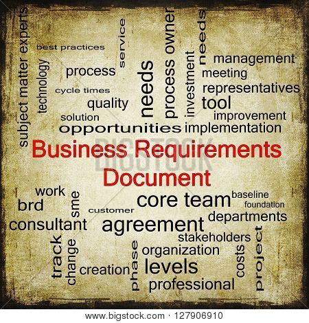 Business Requirements Document Word Cloud Concept In Grunge