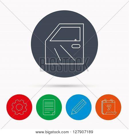 Car door icon. Automobile lock sign. Calendar, cogwheel, document file and pencil icons.