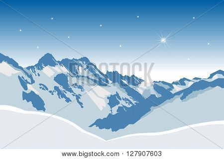 illustration of Winter snowy mountains vector background