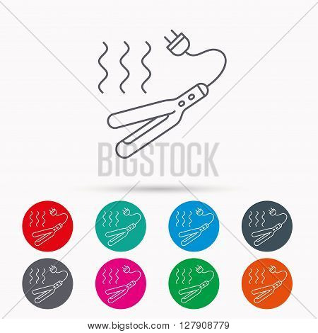 Curling iron icon. Hairstyle electric tool sign. Linear icons in circles on white background.