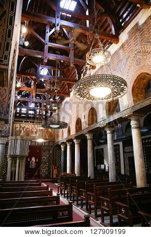 interior of church Saint Mary El Muallaqa or Hanging Church orthodox coptic christian religion public monument from century III or IV in Cairo Egypt Africa