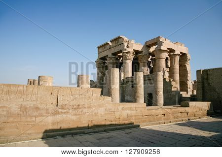 landmark ruins Temple of Kom Ombo Egyptian monument from 180 to 47 B.C. in Ptolemaic dynasty with columns reliefs carving images and hieroglyphs in Aswan Egypt Africa