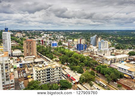 Ciudad del Este, Paraguay - December 5, 2015: Aerial view of Ciudad del Este, the second largest city in Paraguay, on the border with Foz do Iguacu, Brazil.
