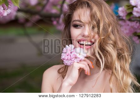 Pretty Woman In Pink Blossom