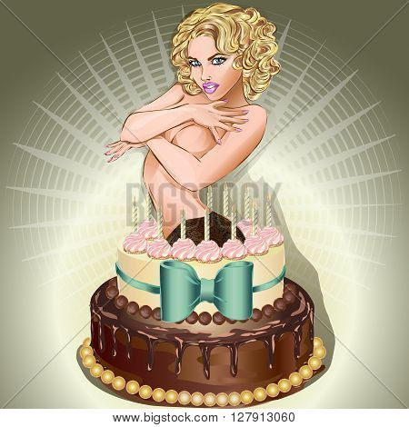 Sexy Woman Popping Out Of Cake