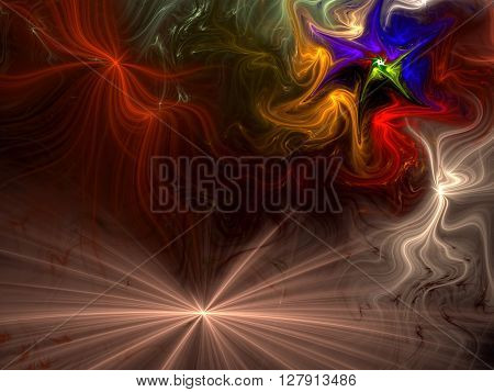 Abstract festive background computer-generated image. Divergent rays and chaotic curves, like fireworks. Vivid background for covers, posters, prints.
