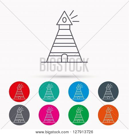 Lighthouse icon. Searchlight signal sign. Coast tower symbol. Linear icons in circles on white background.