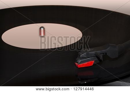 Playing of a track close up on a phonograph record