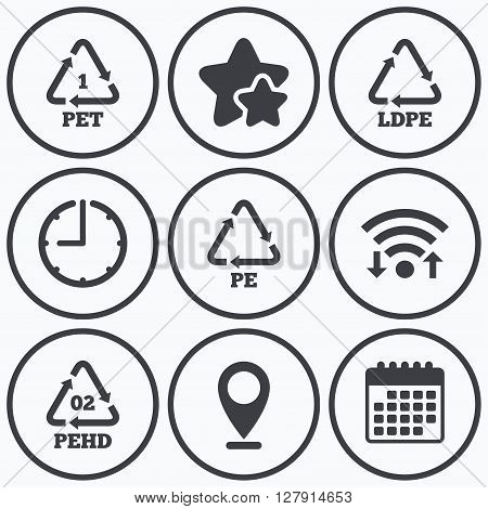 Clock, wifi and stars icons. PET, Ld-pe and Hd-pe icons. High-density Polyethylene terephthalate sign. Recycling symbol. Calendar symbol.
