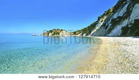 panoramic photo of Gidaki beach Ithaca Greece