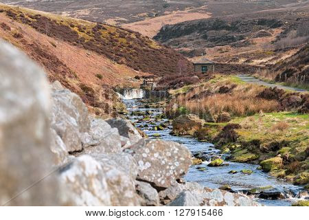 River Among Hilly Moorland Peak District UK