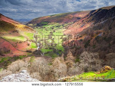 Light Rays Falling onto Scenic Welsh Valley