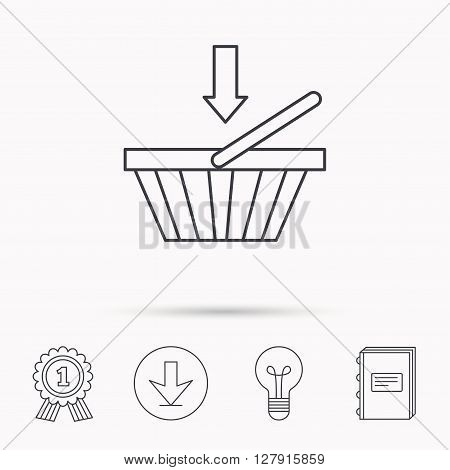 Shopping cart icon. Online buying sign. Download arrow, lamp, learn book and award medal icons.
