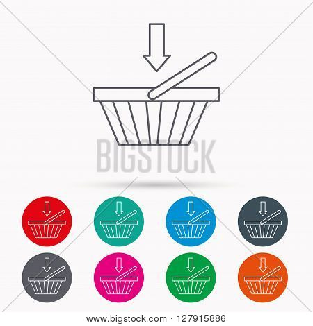 Shopping cart icon. Online buying sign. Linear icons in circles on white background.