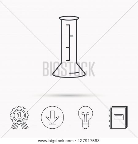 Beaker icon. Laboratory flask sign. Chemistry or pharmaceutical symbol. Download arrow, lamp, learn book and award medal icons.