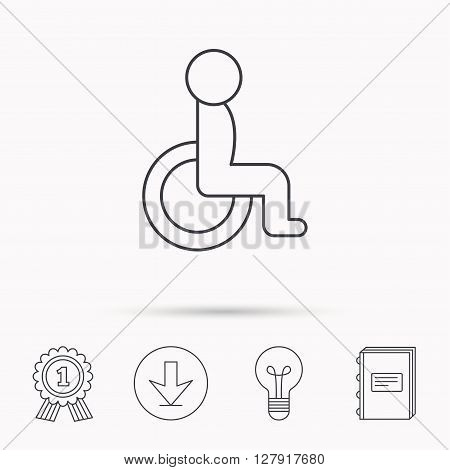 Disabled person icon. Human on wheelchair sign. Patient transportation symbol. Download arrow, lamp, learn book and award medal icons.
