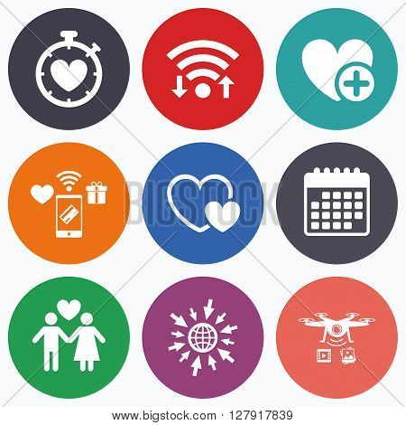 Wifi, mobile payments and drones icons. Valentine day love icons. Love heart timer symbol. Couple lovers sign. Add new love relationship. Calendar symbol.