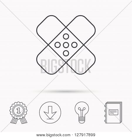 Medical plaster icon. Injury fix sign. Download arrow, lamp, learn book and award medal icons.