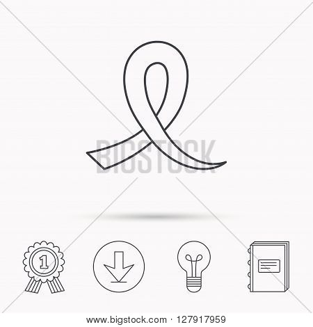 Awareness ribbon icon. Oncology sign. Download arrow, lamp, learn book and award medal icons.