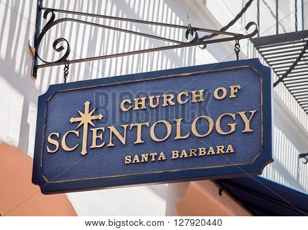 SANTA BARBARA CA/USA - APRIL 30 2016: Church of Scientology exterior and logo. The Church of Scientology is an religious organization devoted to the practice of Scientology.