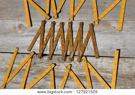 Vintage folding wooden ruler rulers for measuring distances