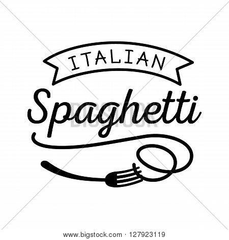 noodle Italian spaghetti logo with fork icon in black color minimal look.