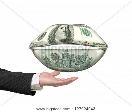 Money Mouth With Hand Holding