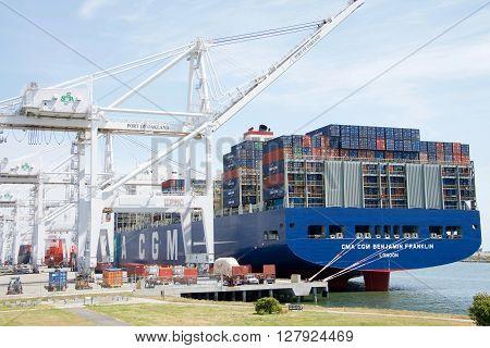 Megaship Benjamin Franklin Docked At The Port Of Oakland