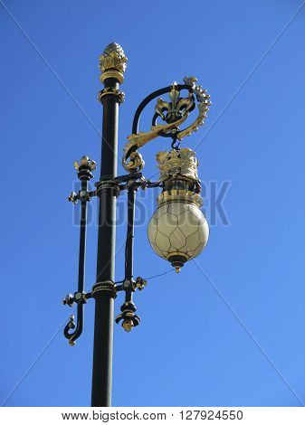 Ornate Lamp Post at Royal Palace Palacio Real Cityscape Madrid Spain. Phillip 5 reconstructed the palace in the 1700s.