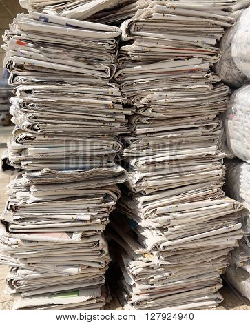 many newspapers while collecting used paper mill for the production of recycled paper