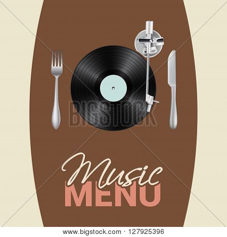 music menu conceptual illustration with vinyl turntable knife fork text