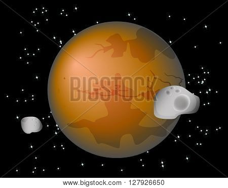 Abstract background with Mars Planet and its moons Phobos and Deimos. EPS10 vector illustration