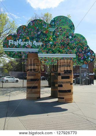 BROOKLYN, NEW YORK - APRIL 19, 2016: Flatbush Avenue sign in Brooklyn, New York. Flatbush Avenue is one of the major avenues in the New York City Borough of Brooklyn