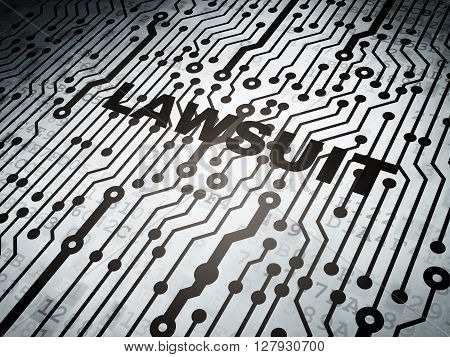 Law concept: circuit board with  word Lawsuit, 3D rendering