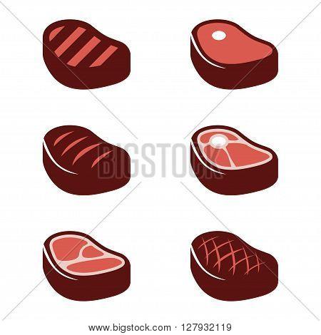 Vector black steak icons set. Beef meat steak icons. Grilled steak