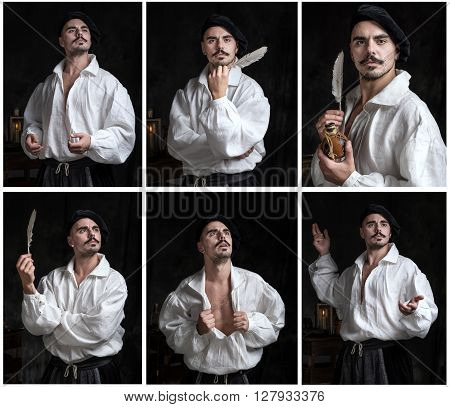Collage of Man in a white shirt and wearing a hat. Historical costume. The poet composes poetry.