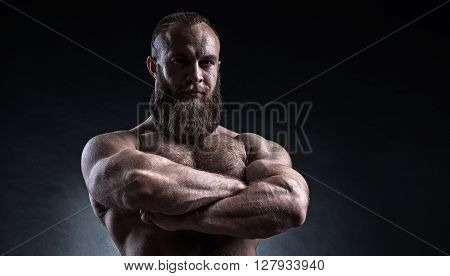 Strong Bearded Man With Perfect Abs, Shoulders, Biceps, Triceps And Chest.