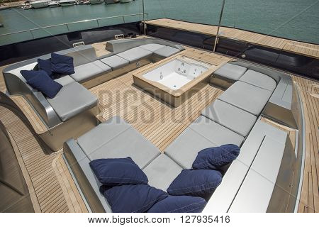 Front Deck Of A Large Luxury Yacht With Jacuzzi