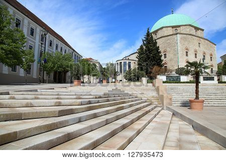 Szechenyi Square and Mosque of Pasha Qasim in Pecs Hungary