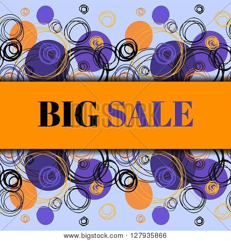 Big sale banner. Orange blue minimal abstract background. Horizontal rapport border design. Elegant hand drawn circles and outline rings ornament on light blue background. Vector graphic illustration.