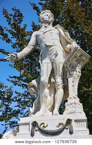 Statue of Wolfgang Amadeus Mozart Burggarten in Vienna Austria
