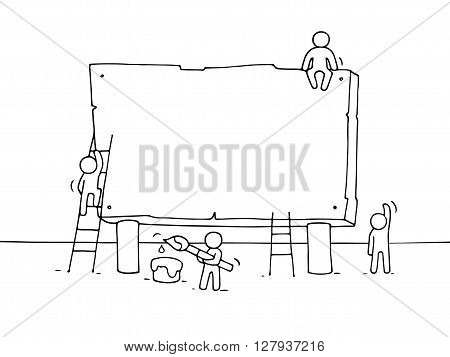 Sketch of blank board with working little people. Doodle cute miniature teamwork. Hand drawn cartoon vector illustration for your text.