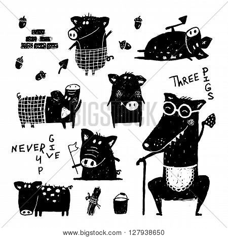 Three pigs and wolf. Animal cartoon funny, happy character piggy, vector illustration