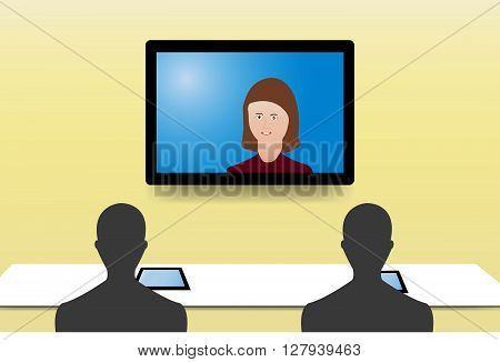 Silhouette figures of two men from behind are looking at a color woman communicating with them from a monitor hanging on the yellow wall. Every man has a tablet on the table before him