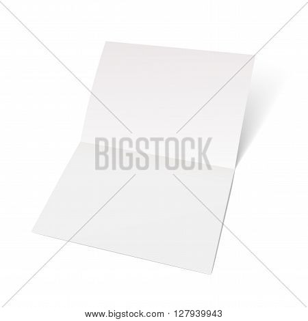 A sheet of paper folded in half. Mock Up Template. Vector illustration