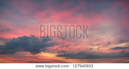 Panorama of dramatic sunset sky with colorful clouds ** Note: Visible grain at 100%, best at smaller sizes