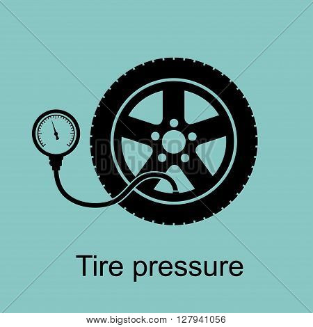 Tire pressure gauge. Checking tire pressure. Vector illustration