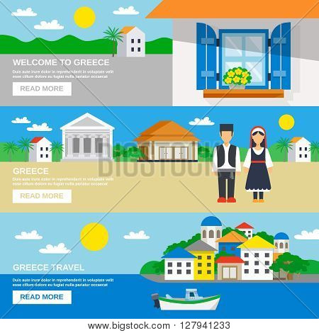 Three horizontal banner set with the Welcome to Greece slogan and decorative landscapes vector illustration